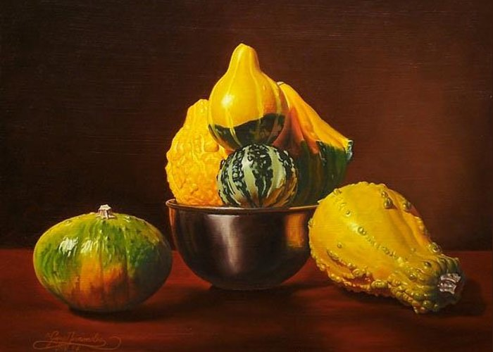 Still Life Greeting Card featuring the painting An Arrangement Of Gourds by Gary Hernandez