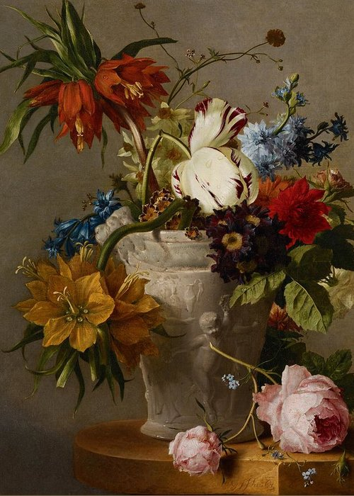 Still-life Greeting Card featuring the painting An Arrangement With Flowers by Georgius Jacobus Johannes van Os