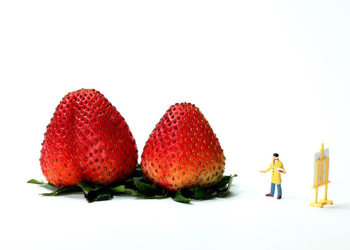 Artist Greeting Card featuring the painting An Artist Drawing Strawberries by Paul Ge