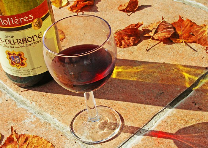 Alcohol Greeting Card featuring the photograph An Autumn Glass Of Red by Georgia Fowler