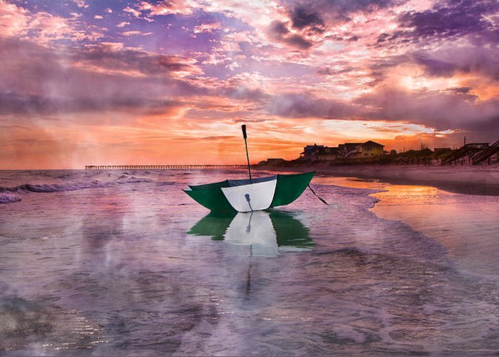Topsail Greeting Card featuring the photograph An Enchanting Evening by Betsy Knapp