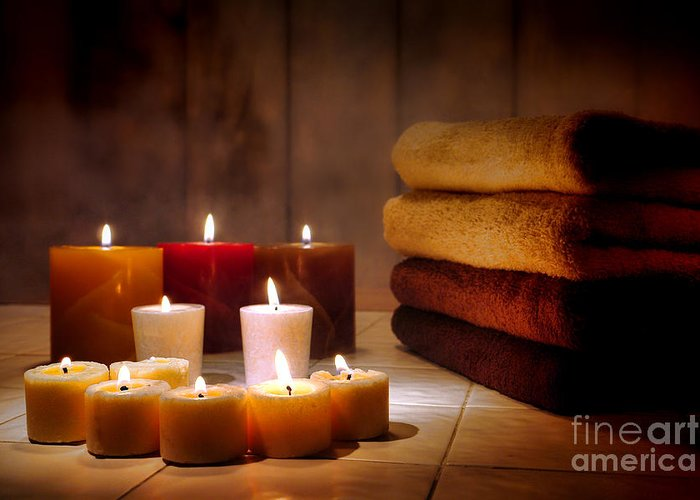 Candles Greeting Card featuring the photograph An Evening At The Spa by Olivier Le Queinec
