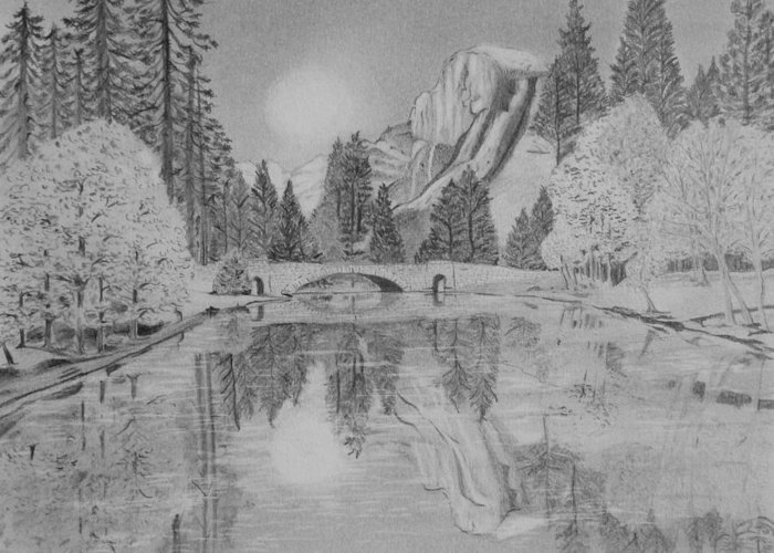 Reflections In River Drawings Greeting Cards
