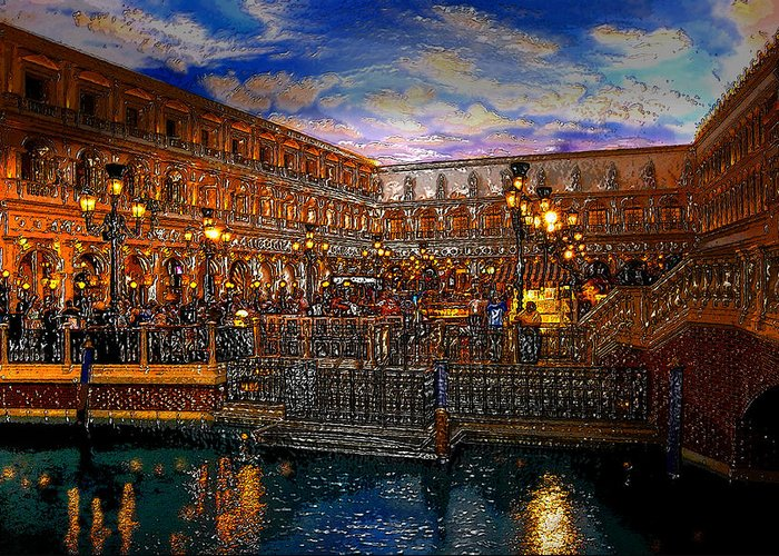 Venice Italy Greeting Card featuring the painting An Evening In Venice by David Lee Thompson