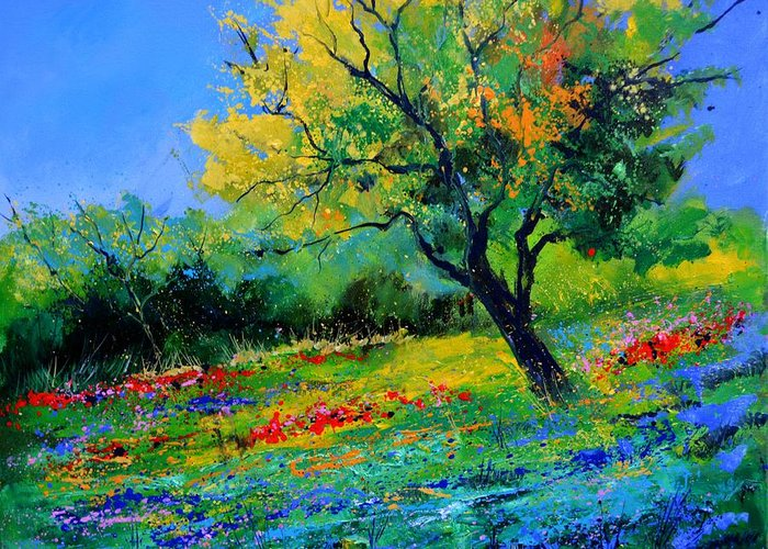 Landscape Greeting Card featuring the painting An oak amid flowers in Texas by Pol Ledent