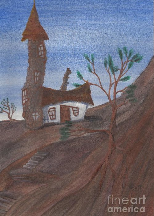 Tower Greeting Card featuring the painting An Odd Folly by Robert Meszaros