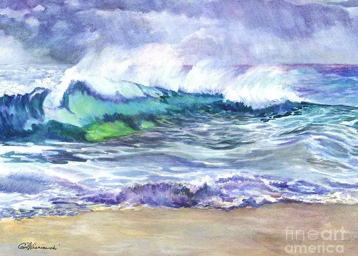 Sea Greeting Card featuring the painting An Ode To The Sea by Carol Wisniewski