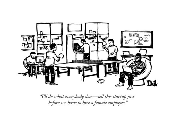 An Office Of Male Tech Entrepreneurs Greeting Card for