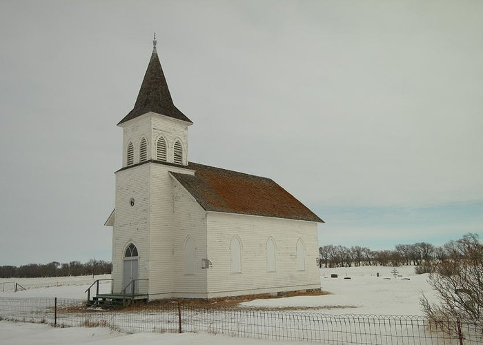 Churches Greeting Card featuring the photograph An Old Church In North Dakota by Jeff Swan