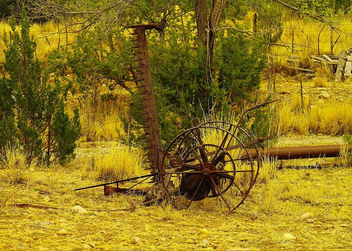Farm Equipment Greeting Card featuring the photograph An Old Grass Cutter In Lincoln City New Mexico by Jeff Swan