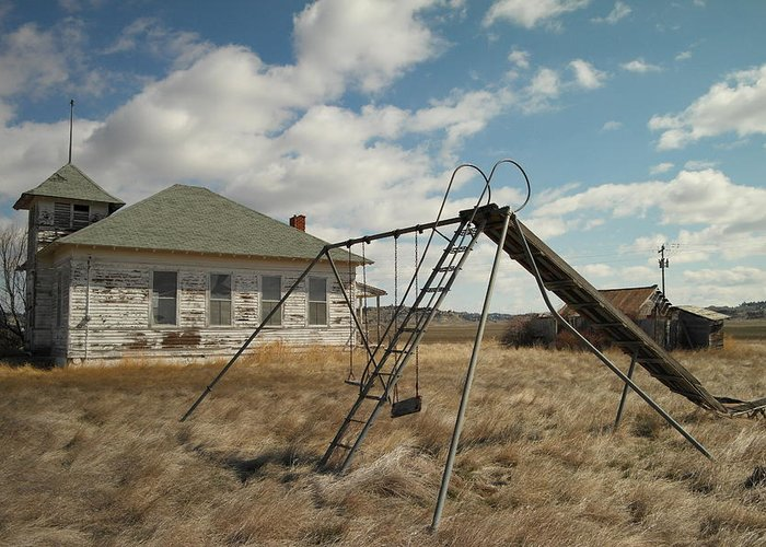 Schools Greeting Card featuring the photograph An Old School Near Miles City Montana by Jeff Swan