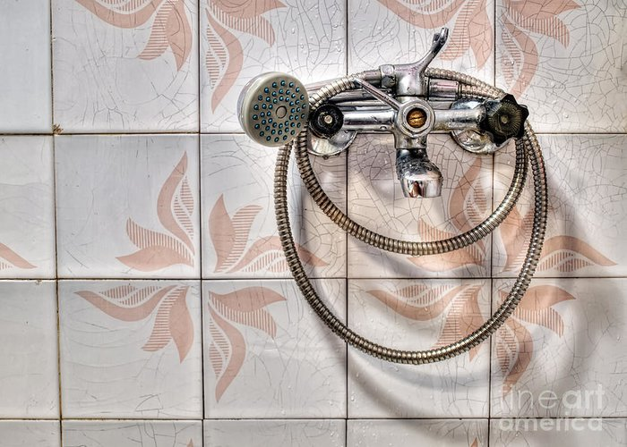 Bath Greeting Card featuring the photograph An Old Shower by Sinisa Botas