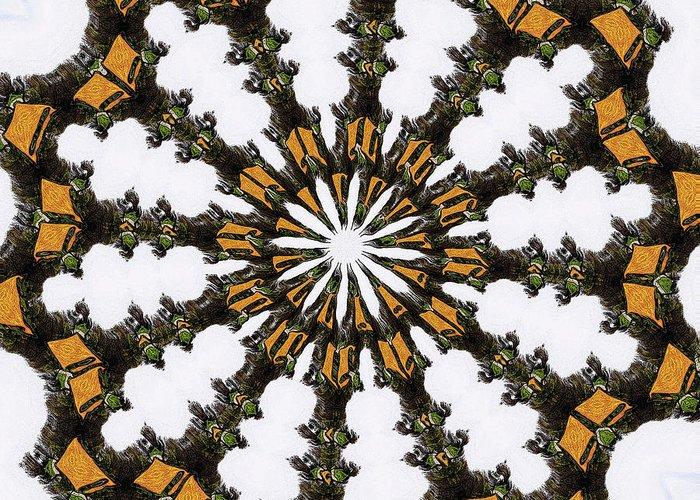 Ananasi Mandala Greeting Card featuring the digital art Ananasi Mandala by Lisa Brandel