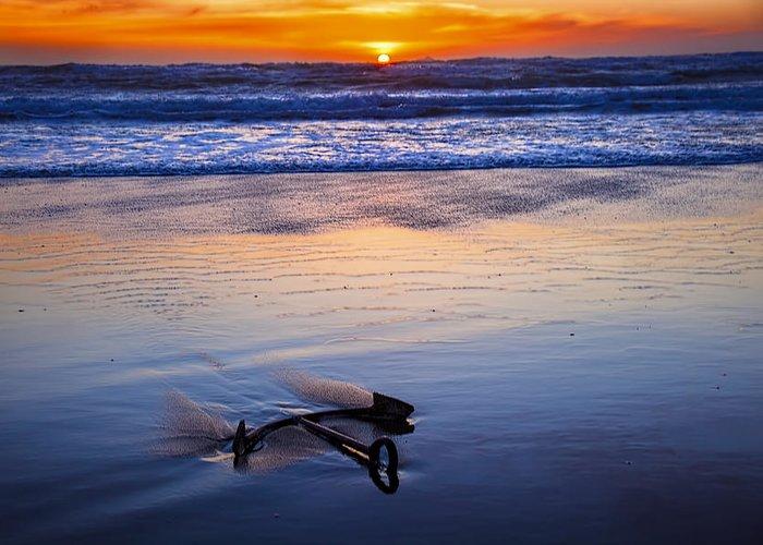 Anchor Greeting Card featuring the photograph Anchor Ocean Beach by Garry Gay
