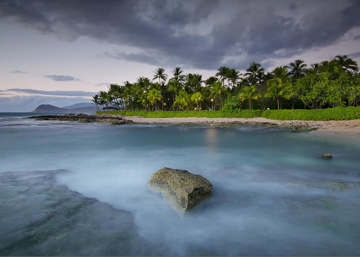 Sunset Greeting Card featuring the photograph Anchor Of The Sea At Koolina by Tin Lung Chao