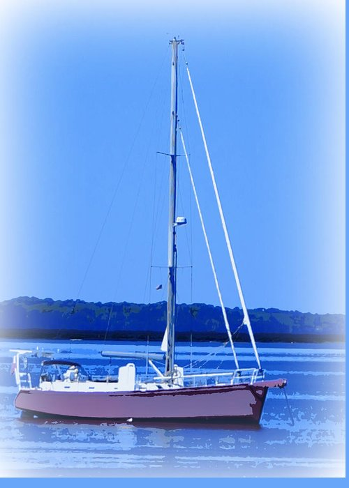 Digital Photograph Greeting Card featuring the ceramic art Anchored In The Bay by Laurie Pike