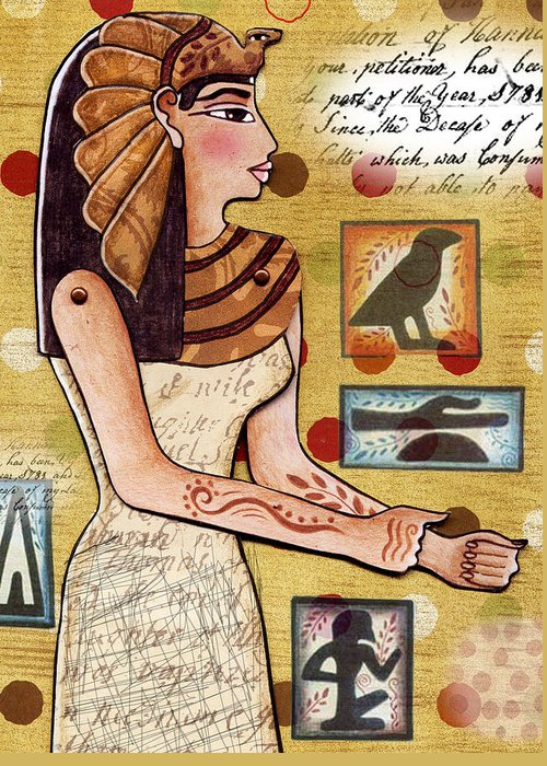 Egyptian Greeting Card featuring the digital art Ancient Brands by Elaine Jackson