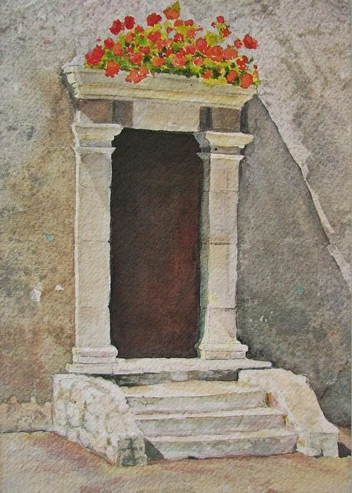 Antique Doorway Greeting Card featuring the painting Ancient Doorway by Mary Ellen Mueller Legault