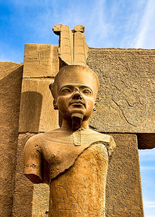King Tut Greeting Card featuring the photograph Ancient Face Of A Pharaoh At Karnak by Mark E Tisdale