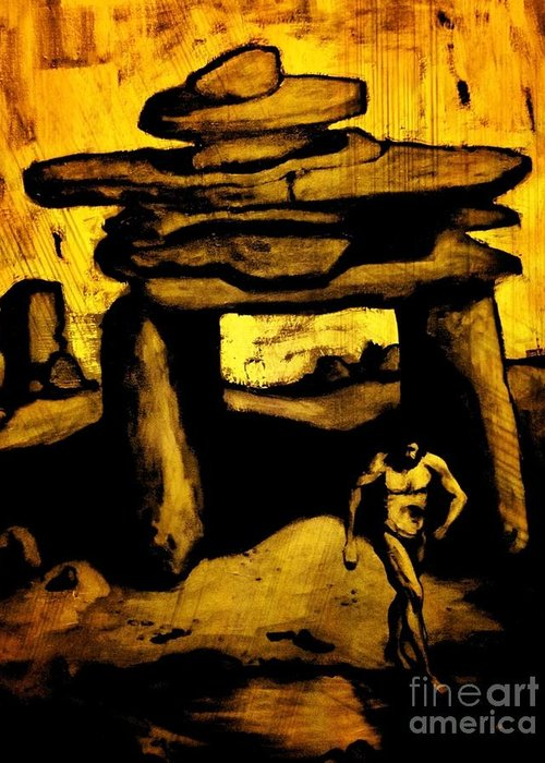 Ancient Grunge Greeting Card featuring the painting Ancient Grunge by John Malone