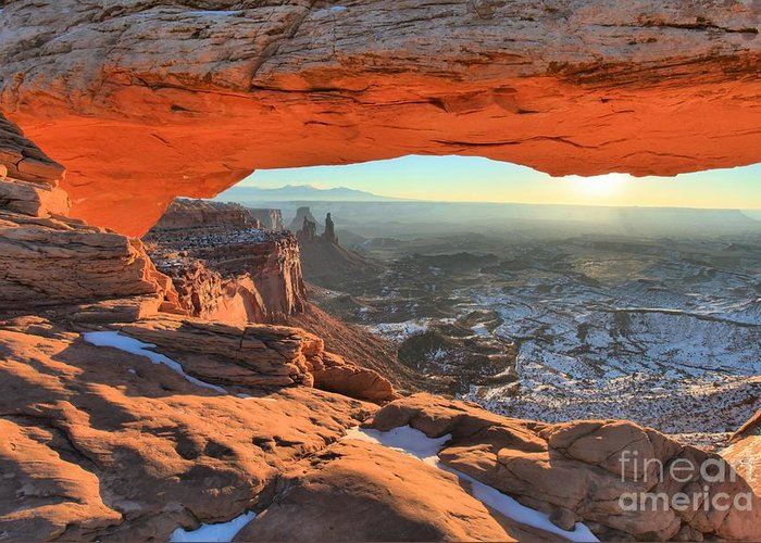 Mesa Arch Sunrise Greeting Card featuring the photograph Ancient Orange by Adam Jewell
