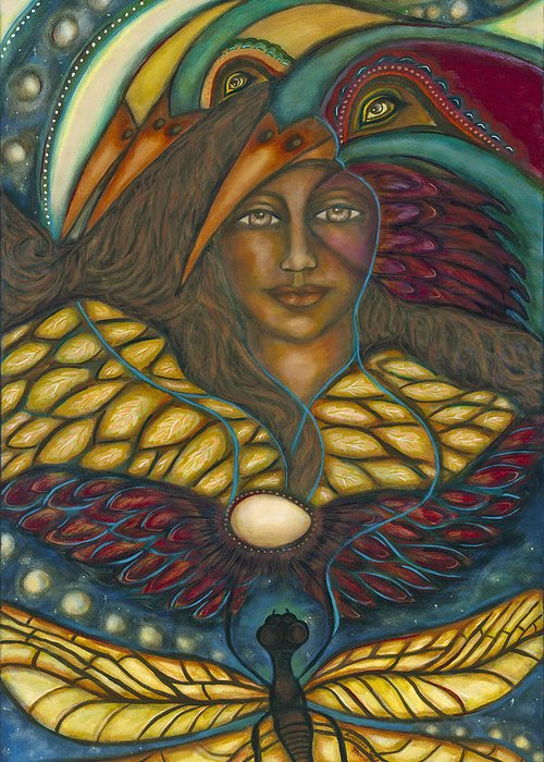 Visionary Artist Greeting Card featuring the painting Ancient Wisdom by Marie Howell Gallery