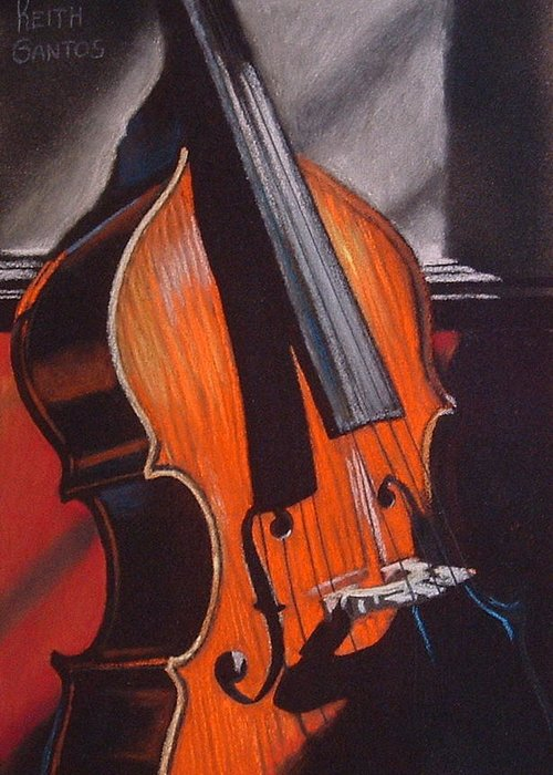 Upright Bass Greeting Card featuring the pastel And Daddy Played Bass by Keith Gantos