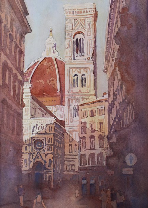 Duomo Campainula Greeting Card featuring the painting And Suddenly The Duomo by Jenny Armitage