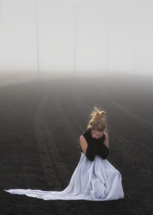 Girl Greeting Card featuring the photograph And Tears Shall Drown The Wind by Evelina Kremsdorf