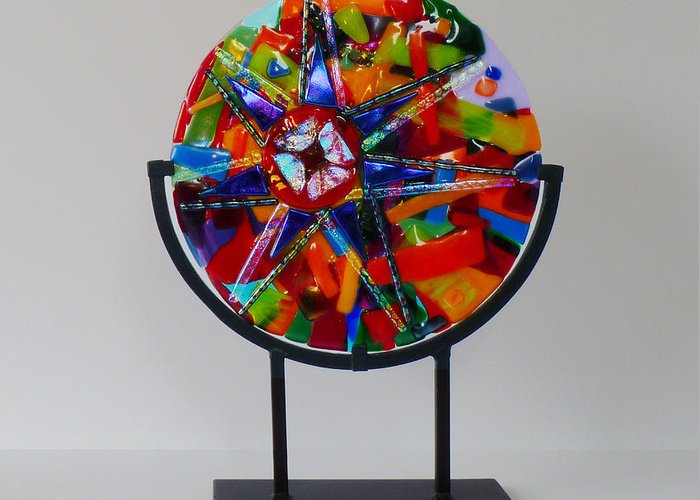 Ferris Wheel Greeting Card featuring the glass art And The Wheel Goes Round And Round by Mark Lubich