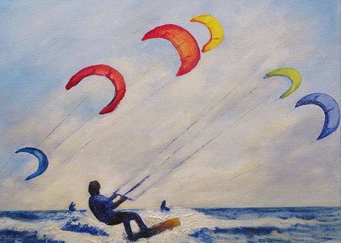 Para Surfing Greeting Card featuring the painting And You'll Take To The Skies by Cecelia Campbell