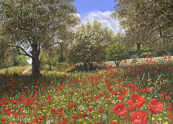 Landscape Greeting Card featuring the painting Andalucian Poppies by Richard Harpum