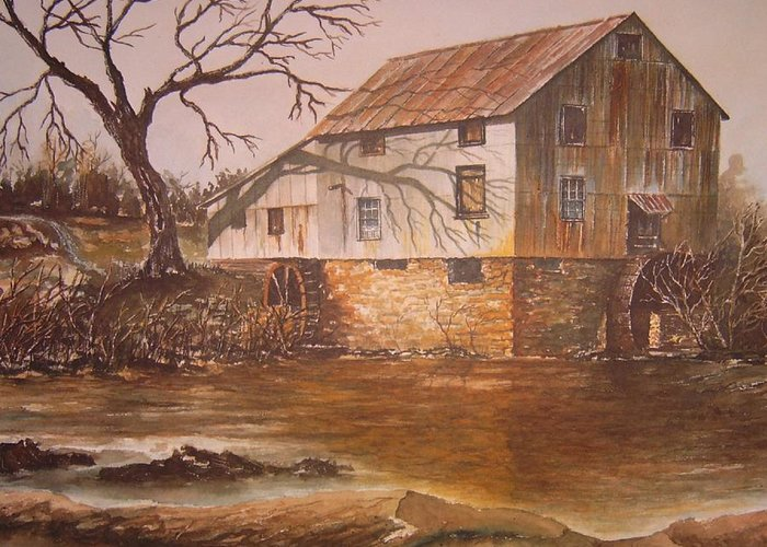 Landscape Greeting Card featuring the painting Anderson Mill by Ben Kiger