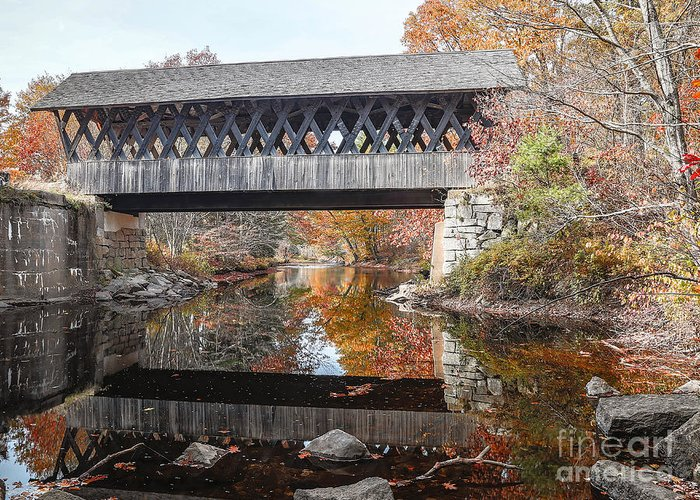 Covered Greeting Card featuring the photograph Andover Covered Bridge by Edward Fielding