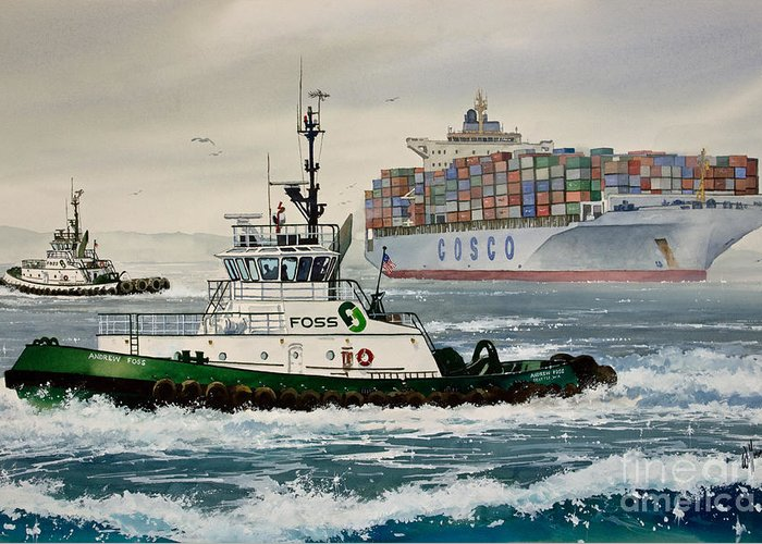 Tugs Greeting Card featuring the painting Andrew Foss Assisting Cosco by James Williamson