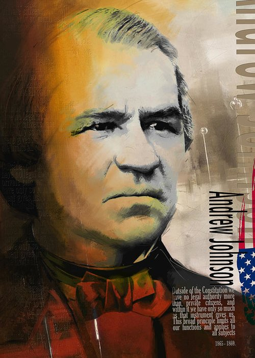 Andrew Johnson Greeting Card featuring the painting Andrew Johnson by Corporate Art Task Force