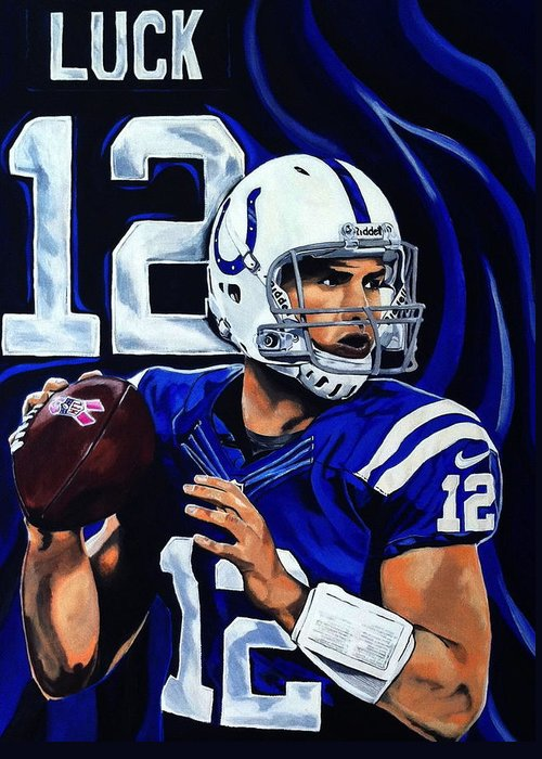 Andrew Luck Greeting Card featuring the painting Andrew Luck by Chris Eckley