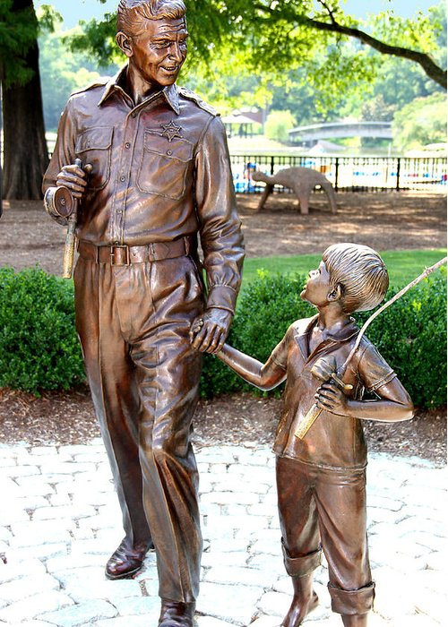 Andy Griffith Greeting Card featuring the photograph Andy And Opie Statue Nc by Frank Savarese