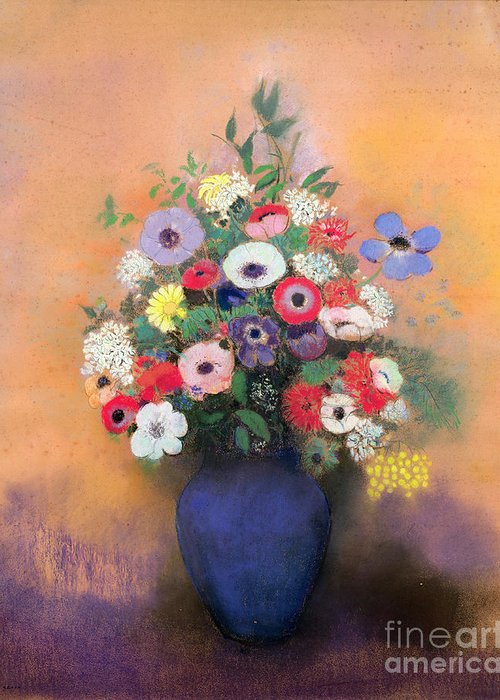 Still Life; Fa00571; Lilas; Flowers; Arrangement Greeting Card featuring the painting Anemones And Lilac In A Blue Vase by Odilon Redon