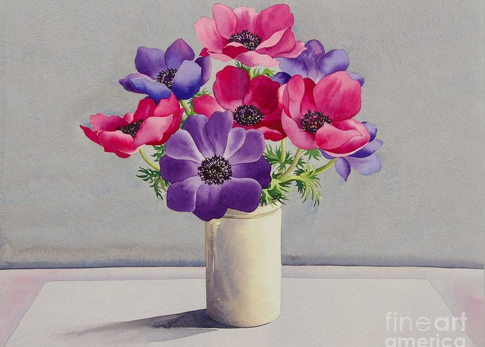 Anemones Greeting Card featuring the painting Anemones by Christopher Ryland