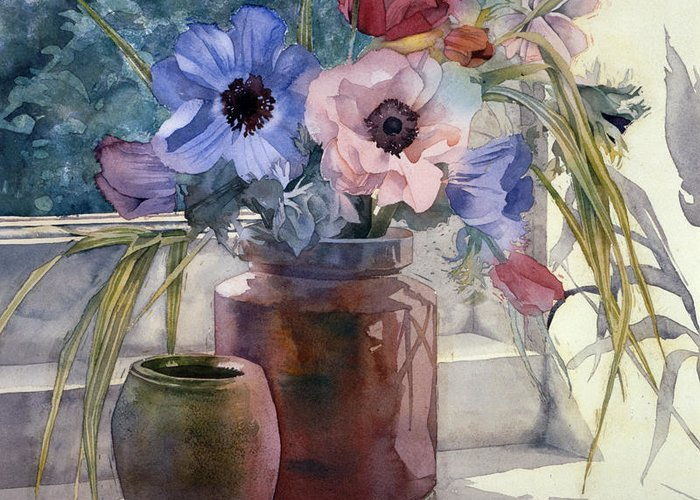 Julia Rowntree Greeting Card featuring the photograph Anemones by Julia Rowntree