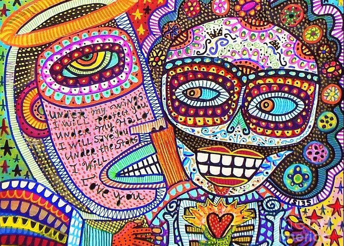 Greeting Card featuring the painting Angel And Frida Sugar Skull Lovers' by Sandra Silberzweig