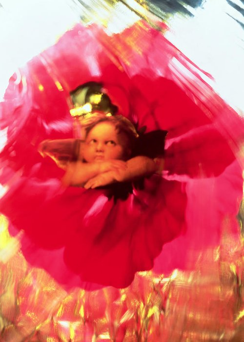 Angels Greeting Card featuring the painting Angel And Poppy by Katherine Fawssett