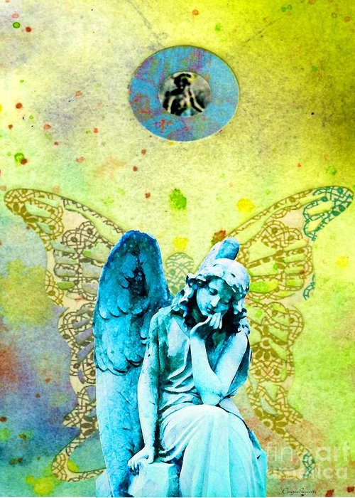 Angel Blessings 3 Greeting Card featuring the painting Angel Blessings 3 by Desiree Paquette