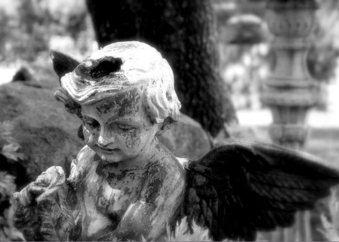 Angel Greeting Card featuring the photograph Angel In The Garden by Rosemary Bliss