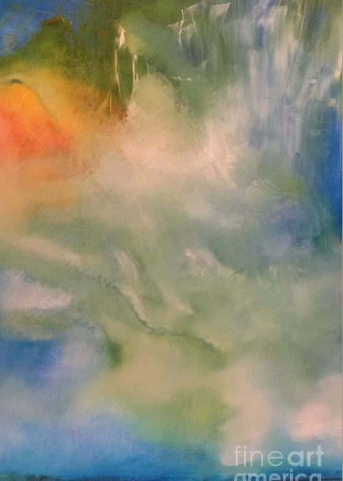 Angel Greeting Card featuring the painting Angel by Jane Ubell-Meyer