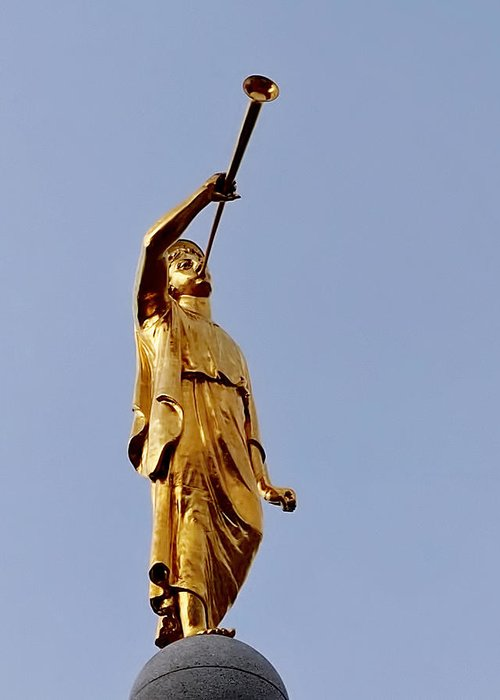 angel moroni greeting card for sale by rona black