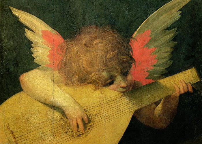 Putto Greeting Card featuring the painting Angel Musician by Giovanni Battista Rosso Fiorentino
