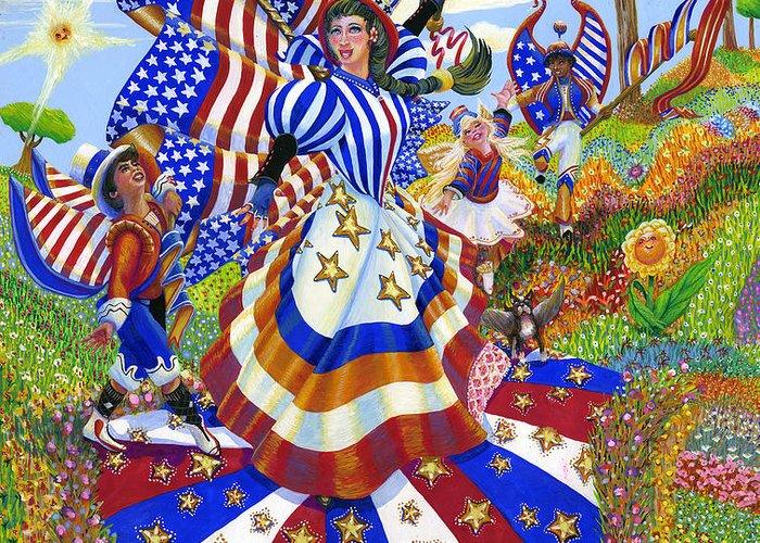 Angel Greeting Card featuring the painting Angel Of American Patriotism by Jacquelin Vanderwood