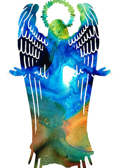 Angel Greeting Card featuring the painting Angel Of Light - Spiritual Art Painting by Sharon Cummings